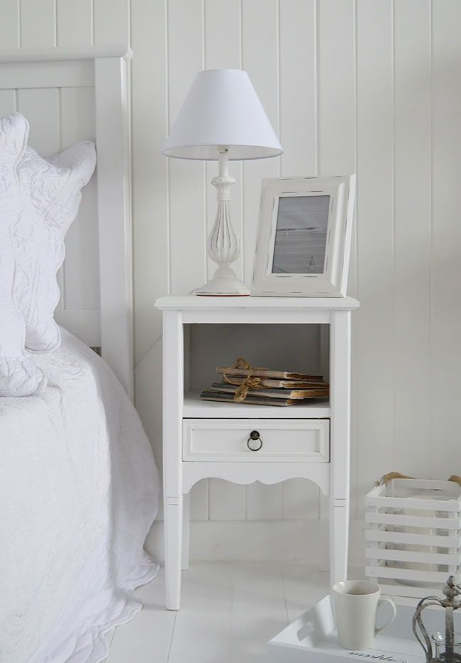 The White Lighthouse Bedroom Furniture. Cove Bay White Bedside Table, Can  Be Used As A White Lamp Table In Beach House Interior, Ideas On How To  Decorate A ...