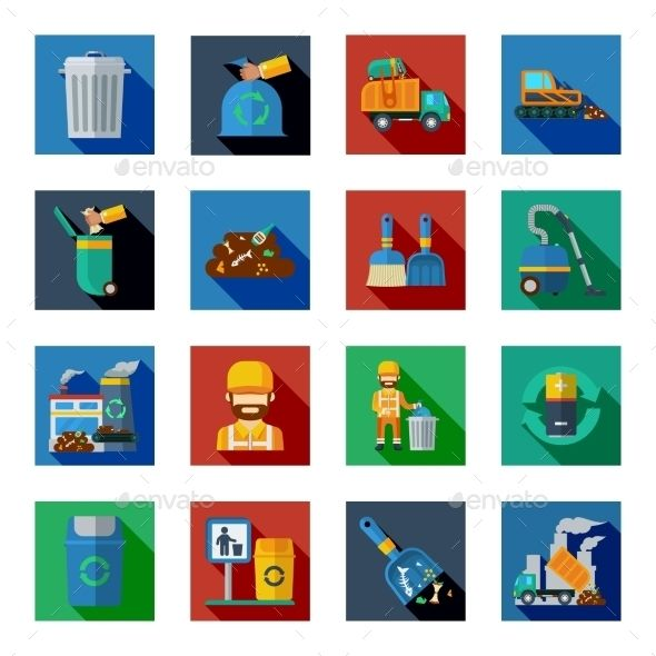 Disposal Of Waste Colorful Square Icons