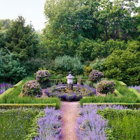 Purple Garden: Architectural Digest/ Peter Marino - nepeta/ heliotrope & verbena and rhododendrons