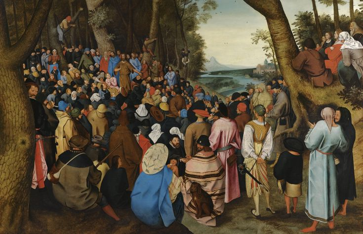 Pieter Brueghel the Younger BRUSSELS 1564 - 1637/8 ANTWERP SAINT JOHN THE BAPTIST PREACHING TO THE MASSES IN THE WILDERNESS oil on oak panel 91.1 by 140.5 cm.; 35 7/8 by 55 1/4 in.