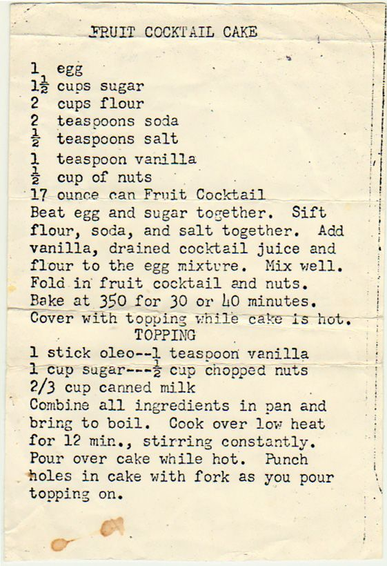Starting to sense a theme today? We talked about the history of fruit cocktail cake in an earlier post from Ceres, California. From the box of F.J. from Sun City, Arizona. Some cards suggest a fami...