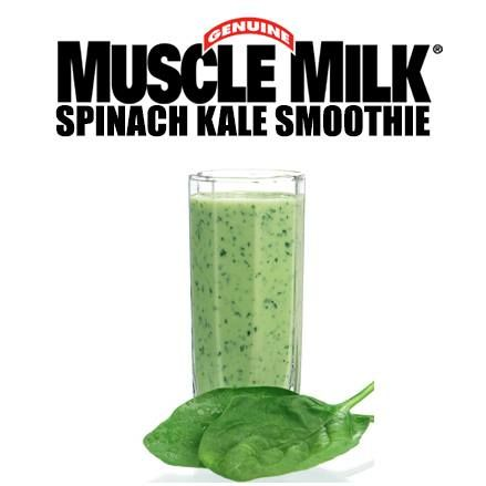 Need a little pick me up? Check out our Spinach Kale #smoothie #recipe 2 scoops of Muscle Milk Cake Batter Light Protein Powder. (25g protein) - 1/2 cup blueberries (frozen or fresh) - 1/2 cup raspberries (frozen or fresh) - 1 banana - 4 strawberries - 1 handful spinach - 1 handful kale - 1 cup of water - handful ice - 1 tbsp almond butter. #recipe #smoothie #protein