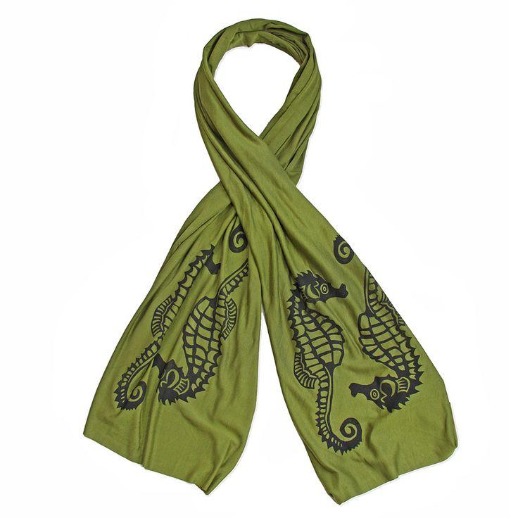 Wind Sparrow Hand Printed Black Ink Botanical Fashion Scarf - Sage Green Seahorse