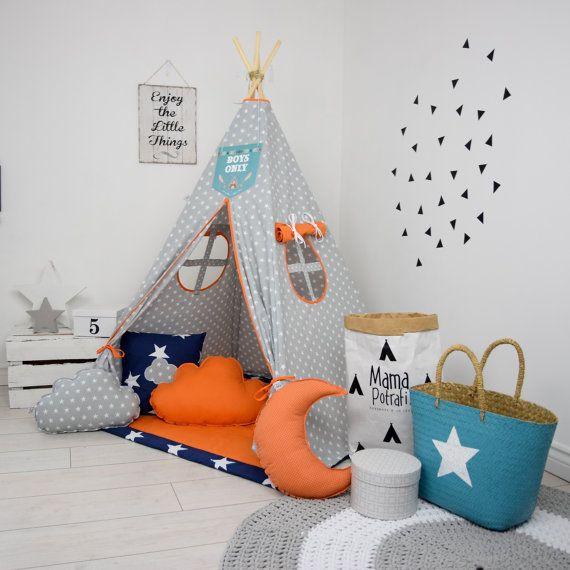 Jugar Kids Set tipi tipi tienda Tipi niños Playhouse Wigwam Zelt Tente - caramelo naranja