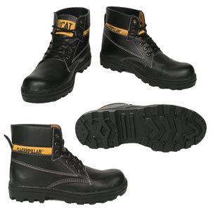 Sepatu Pria Boots Safety Caterpillar Bahan Hitam Licin
