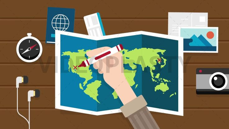 Download: http://ift.tt/2qF4pdE  A top view scene of someone planning a trip around the world drawing the route on a world map using a red marker from North America to Africa then to Asia. The scene happens on a wooden background. Around the map there are also other travel items such as: headphones compass passport tickets postcard and a camera.  Includes one version:  IN / OUT animations  Clip Length: 10 seconds Loopable: No Resolution: FullHD Format: Quicktime MOV  For more premium quality…