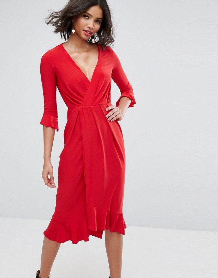 ASOS Wrap Front Midi Dress With Frill Detail - Red