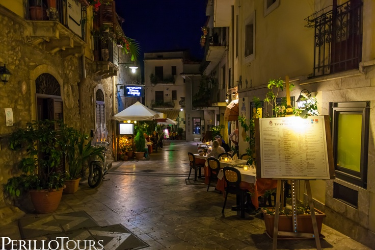 Perillo Tours Travel - Taormina Italy Resturant Street Scene at Night