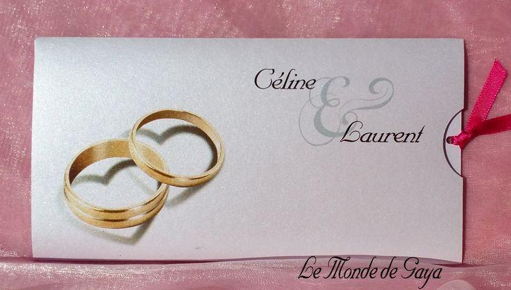 Faire part pochette imprimée alliance or, pour votre mariage,baptême, communion, anniversaire, baptême...   Les étiquettes à dragées assorties vous sont offertes Possibilité de réaliser gratuitement 2 maquettes, une pour les invités au vin d'honneur, une autre pour les invités au vin d'honneur et au repas, afin d'éviter l'achat de coupon d'invitation qui est en supplément.  baptême... http://www.lemondedegaya.fr/site/faire_part_pochette_imprimee.php