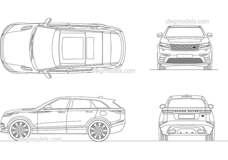 Range Rover Velar 2017 - CAD Blocks, free dwg file.