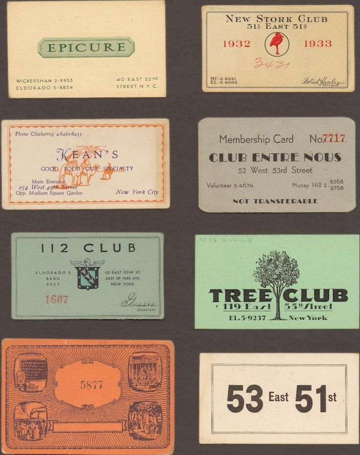 These prohibition-era speakeasy cards, collected between 1920 and 1933, served as certificates of membership and admission for illegal drinking establishments in midtown Manhattan.