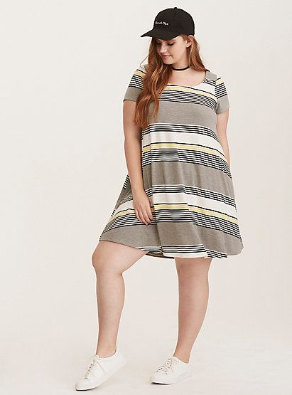 Multi Stripe Jersey Trapeze DressMulti Stripe Jersey Trapeze Dress, SO SMOOTH STRIPES