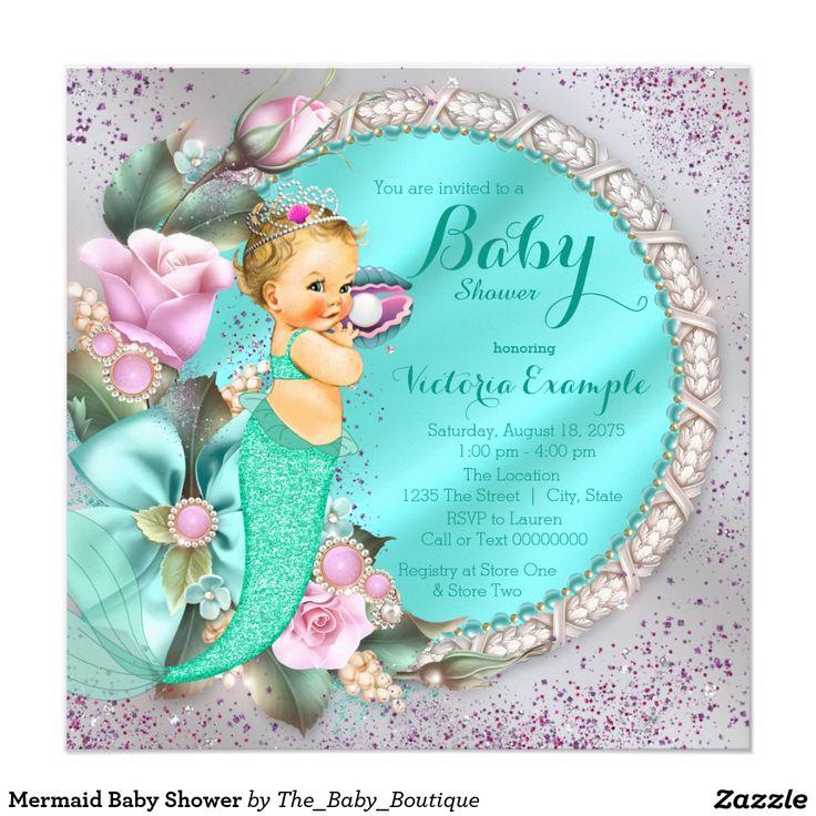64 best Mermaid Baby Shower Invitations Ideas images on Pinterest