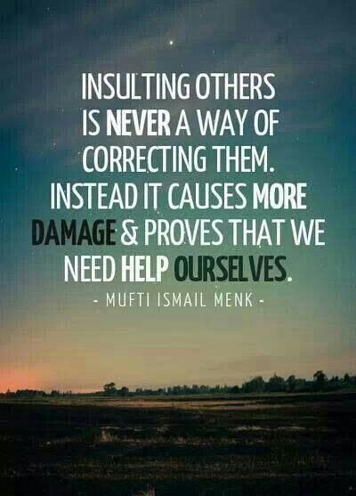 Insulting others is never a way of correcting them. Instead it causes more damage and proves that we need help ourselves.