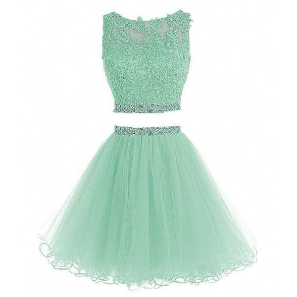 Himoda Women's Two Pieces Short Prom Gowns Beaded Homecoming Dresses... ($85) ❤ liked on Polyvore featuring dresses, homecoming dresses, green homecoming dresses, two-piece dresses, mint green dress and green dress