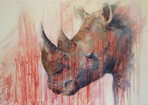 """Tears of the Rhino"" part of a portfolio of paintings that helps bring awareness to the conservation of wildlife, by Australian artist Paula Wiegmink. See her work at www.ArtsyShark.com"