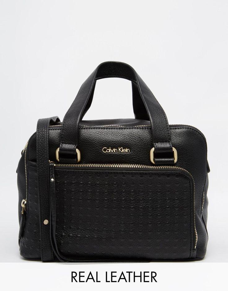 Изображение 1 из Кожаная сумка дафл с заклепками Calvin Klein