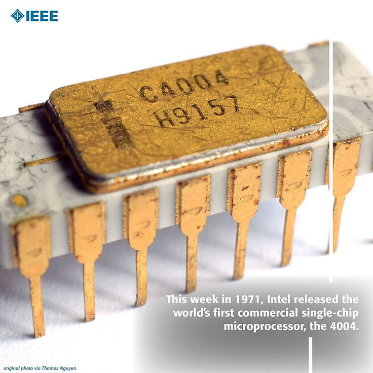 "This week in 1971, Intel released the world's first commercial single-chip microprocessor, the 4004 with an advertisement in the 15 November issue of Electronic News: ""Announcing A New Era In Integrated Electronics."" The #Intel 4004 became the first general-purpose programmable processor on the market.  #IEEE #Engineer #Engineering #Tech #Technology"