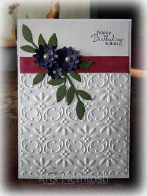 Emboss Whisper White card stock w Finial Press Embossing Folder, Rose Red
