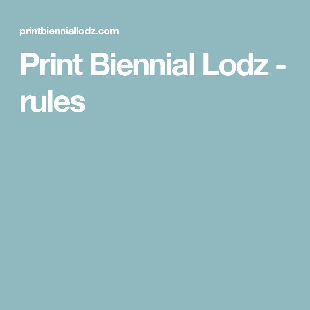 Print Biennial Lodz - rules