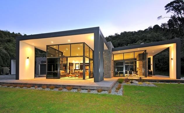 Upper Hutt, New Zealand,  by Studio MWA 3-glass-cubed-volumes-sheltered-under-roof-sustainable-home-1-exterior.jpg