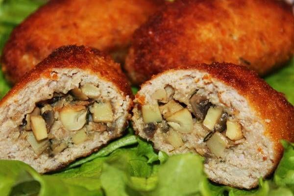 мясные зразы с грибами и сыром в духовке по-домашнему