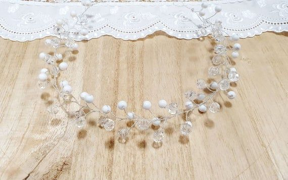 Hair Wreath Hair Ornament Glass Beads Wedding Wedding Wedding Jewelry Headdress Communion Bridal Copper Wire Color Silver Beaded Wedding Hair Ornaments Hair Wreaths