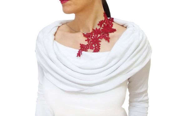 Burgundy statement lace necklace Asymmetric by HAREMDESIGN on Etsy