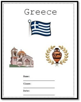 Greece - A research project is a 15 pages study on Greece. Use it as a class test or research project. Answers are provide for 26 qustions, maps and flag but not the short essay queations.  Download Preview File - Please view Greece preview file prior to purchasing as the preview is all the resources in this pack.