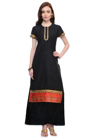 Gestickte Art Silk pakistanische Anzug in Schwarz