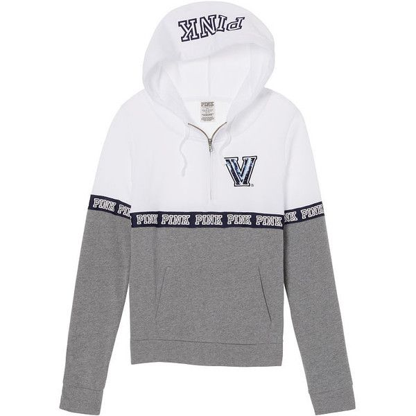 PINK Villanova University Bling Perfect Half Zip Hoodie ($65) ❤ liked on Polyvore featuring tops and hoodies