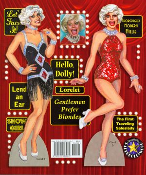 Two Carol Channing dolls to cut-out and dress-up.  Back Cover. By David Wolfe, Paperdollywood. Available for purchase at paperdollreview.com