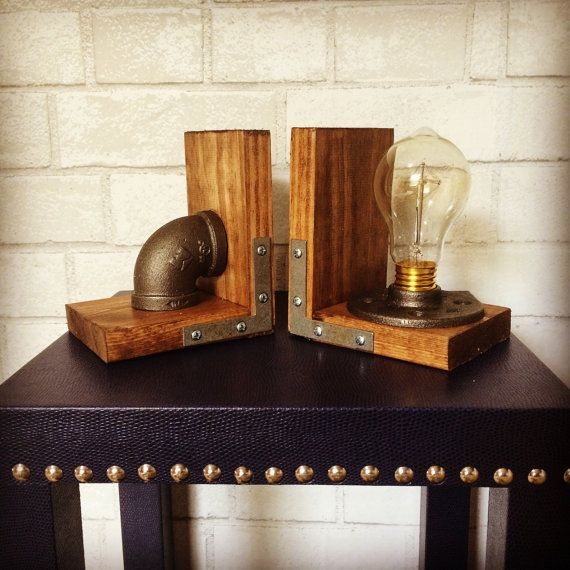 Steel grey accents and a dark walnut stain make these industrial style bookends a great accent piece for any home or office! Custom creations are welcomed.