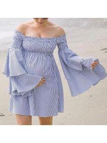 0644228723935 Maternity Off Shoulder Stripes Short Dress   Dresses   Striped short ...