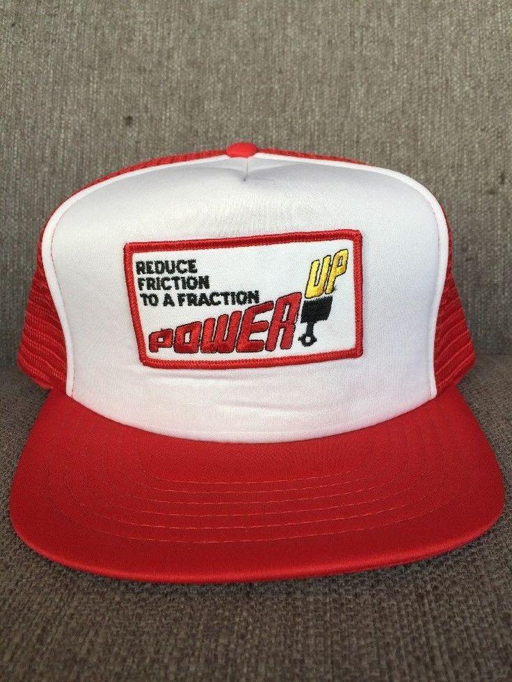 Vtg Power Up Snap Back Trucker Hat 1980's Reduce Friction Oil Additive Mechanic  | eBay