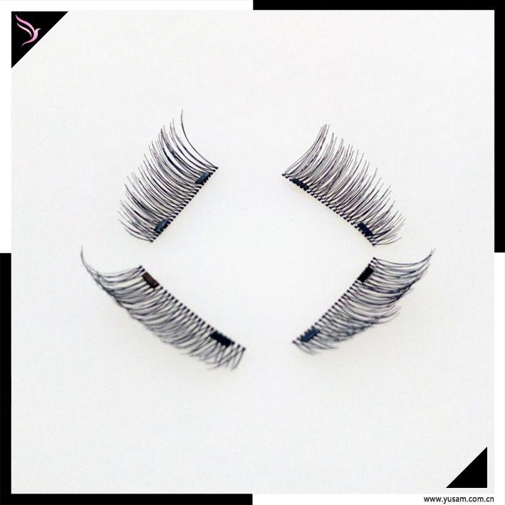 Handmade reusable magnetic eyelashes glue free one two three magnet lashes