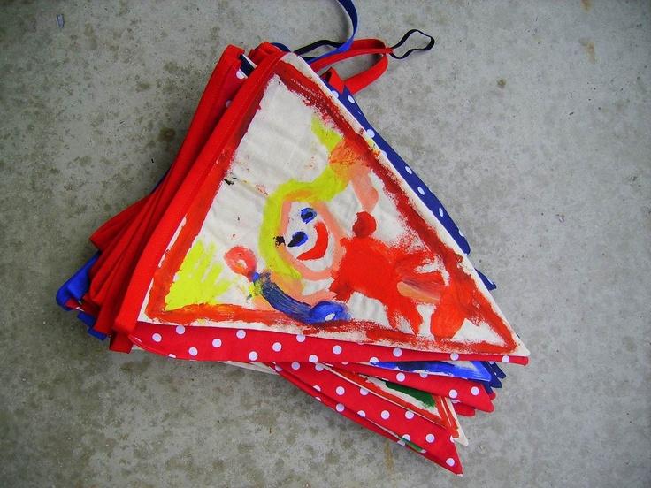 Vlaggetjes van de Action, ieder kind mag één vlagje schilderen.