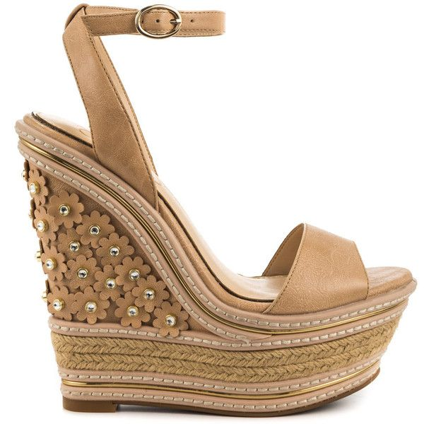 Jessica Simpson Women's Ameka - Buff New Ruby Tmbl ($125) ❤ liked on Polyvore featuring shoes, sandals, beige, flower sandals, jessica simpson shoes, wedges shoes, platform espadrilles and beige sandals