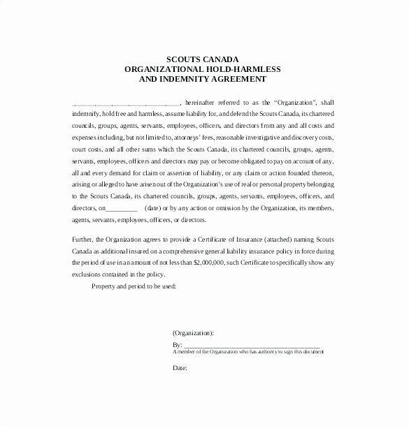 Hold Harmless Agreement Sample Wording In 2020 Newsletter