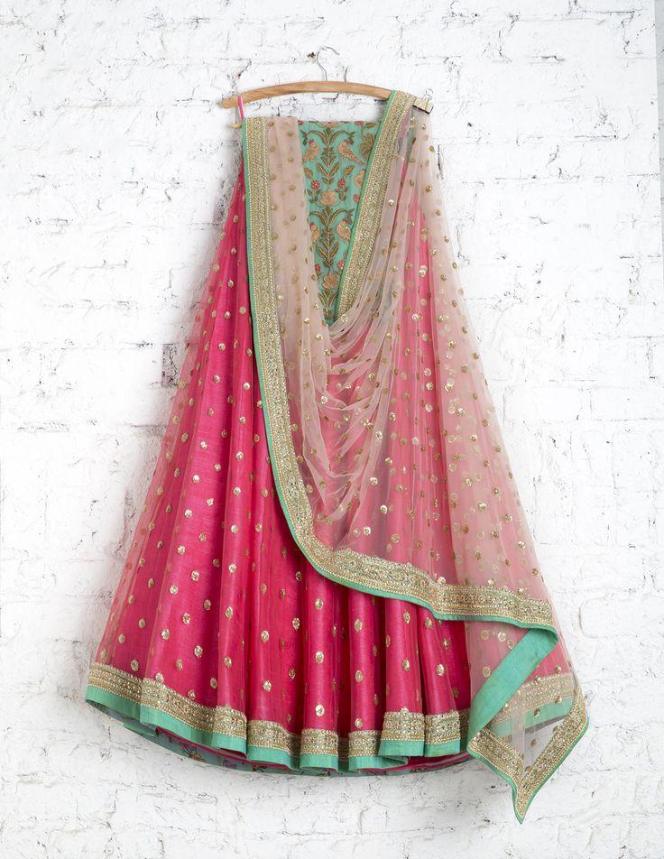 SwatiManish Lehengas SMF LEH 215 17 Candy pink lehenga with soft pink sequin dupatta and turquoise threadwork blouse