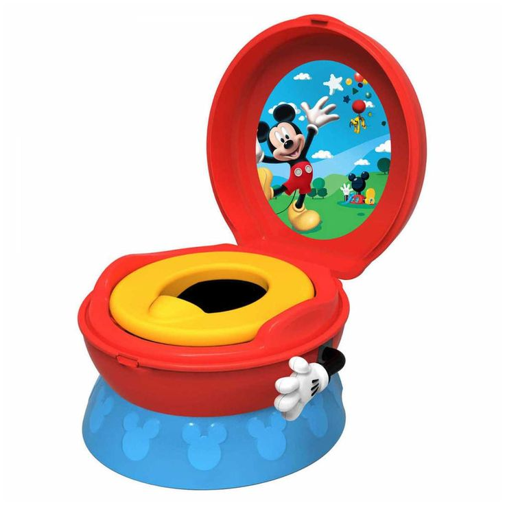 This Mickey Mouse Potty System will make toilet training easier and less intimidating for your little one with its fun magical sounds. The 3-in-1 design includes a potty, a detachable trainer seat and a sturdy step stool. The potty has a soft seat for your child's comfort.