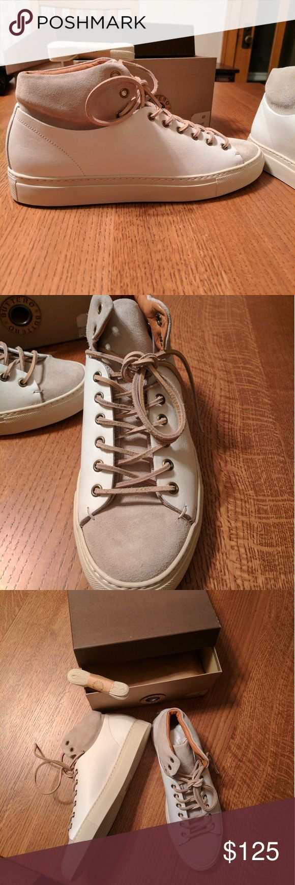 Mens high top sneakers Buttero European men's sneakers; cream and tan canvas high top sneakers; come with leather laces as well as additional laces. Men's size 41 in Europe and it translates to an 8 I believe. Never been worn, brand new. Shoes Sneakers