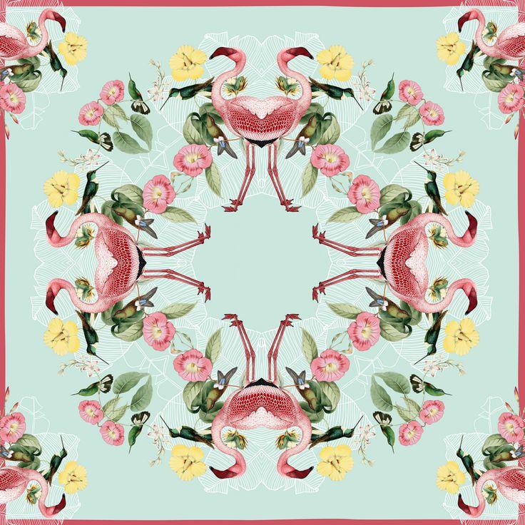 Flamingo scarf 110 x 110 cm.