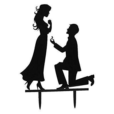 Jeunes Mariés Figurine en Acrylique Décoration pour Gâteau de Mariage Noir #1