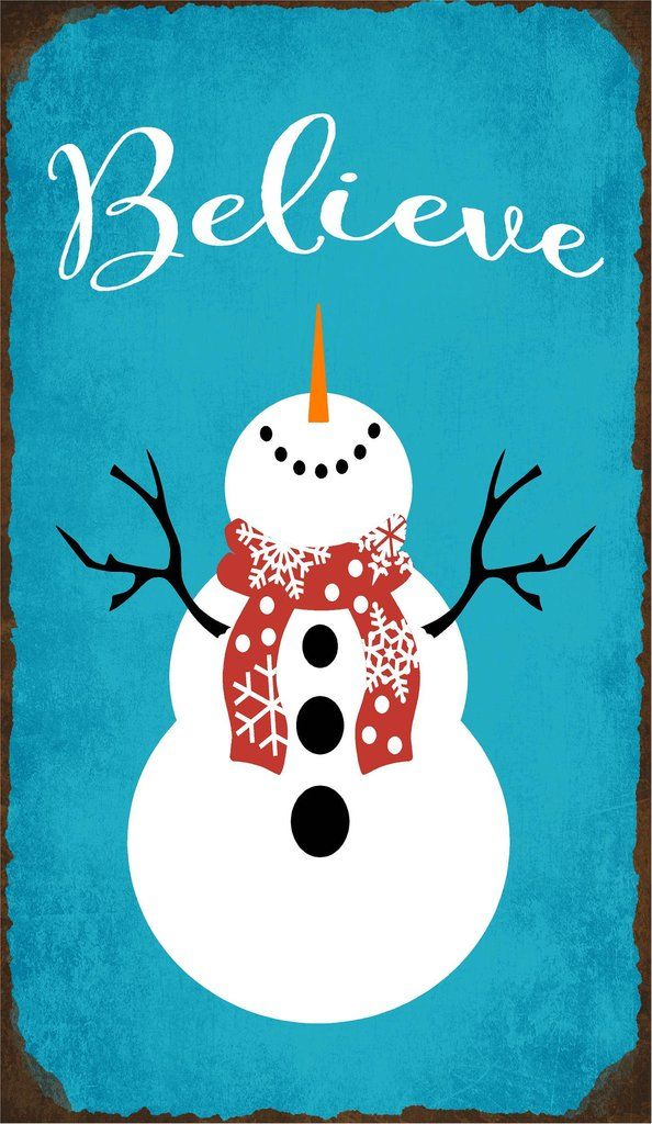 Copy of Believe with Snowman Wood Sign or Canvas Wall Art - Christmas Decor, Farmhouse