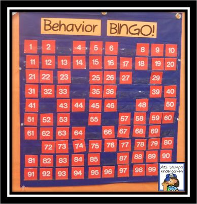 or whole class behavior, we love Behavior BINGO!  It's a great way to encourage great behavior choices and practice essential math skills as well.  Students can earn numbers for hallway behavior, encore class behavior (music, art, PE, library, computer lab), cafeteria behavior, etc.  Once we earn 10 in a row--it's BINGO!  Students vote on our reward during weekly class meetings.