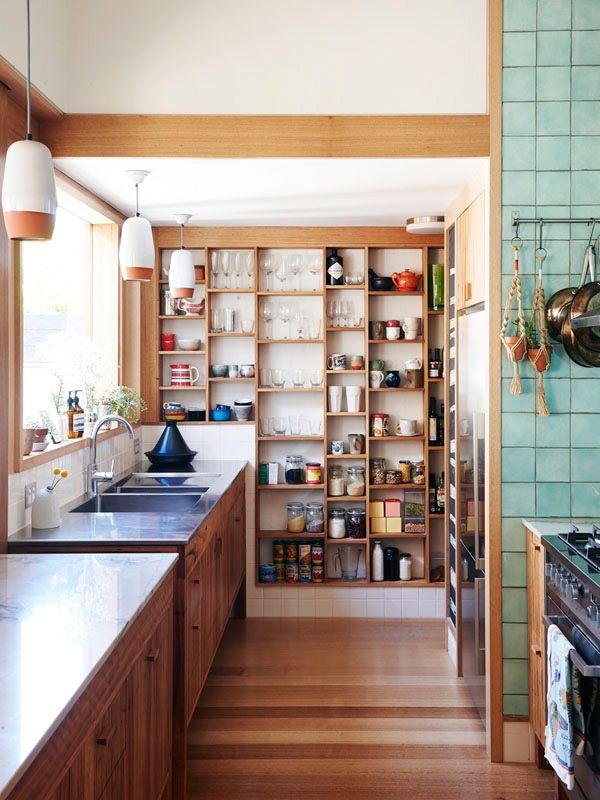 Kitchen shelving that allows you to immediately see where you put things