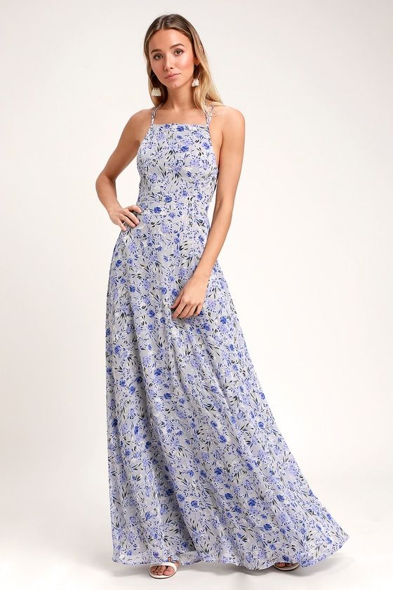 8823efb625b Dora Light Blue Floral Print Lace-Up Maxi Dress