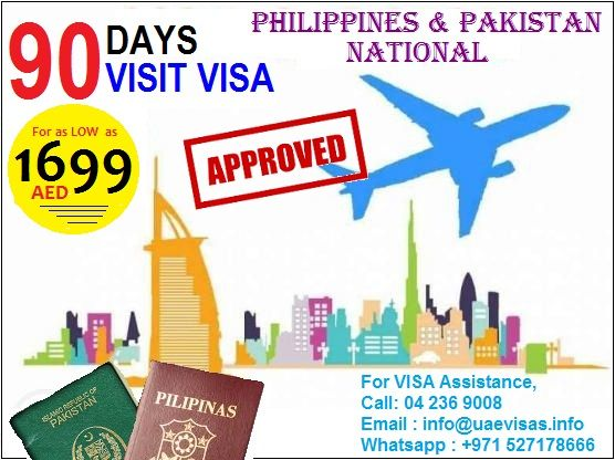 UAE Visa.info SERVICES: 90 DAYS VISIT VISA FOR PHILIPPINES & PAKISTAN -------------------------------------------------- AIRPORT TO AIRPORT EXIT PACKAGE (2499AED) INCLUSION: *90 DAYS VISA *2 WAY TICKET -------------------------------------------------- DOCUMENTS REQUIRED -passport copy of the applicant -passport size photograph -passport copy and visa page of the guarantor -emirates id copy of the guarantor -2 contacts here in UAE MAXIMUM PROCESSING TIME IS 2 DAYS Please contact us :04 236…