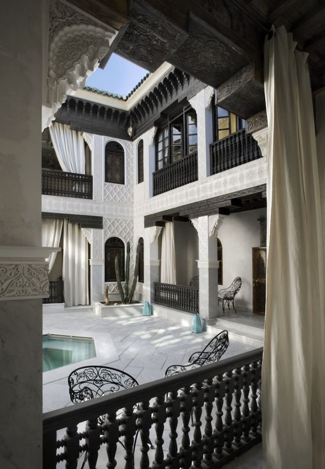 Marrakech Riad, Morocco; Mudejar style, subtle & elegant. #morocco #riad - Maroc Désert Expérience tours http://www.marocdesertexperience.com